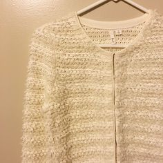Nordstroms white cardigan by Frenchi! So adorable- this beautiful sweater has hook closure instead of buttons- works well over a tank or sundress- could be worn through the spring! Frenchi Sweaters Cardigans