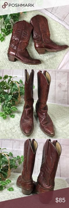 FRYE cow boy Boot Size 12 Pictures shown damaged & scuff  Some use left . Non smoke fast shipping Frye Shoes Heeled Boots