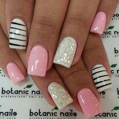 ♡ Pink, glitter, & stripes.