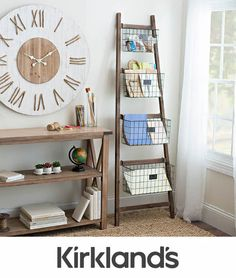 Product Details Tapered Wooden Ladder Basket Shelf - Home Professional Decoration Ladder Storage, Bench With Storage, Ladder Bookcase, Storage Benches, Furniture Storage, Basket Shelves, Storage Baskets, Wire Baskets, Storage Ideas