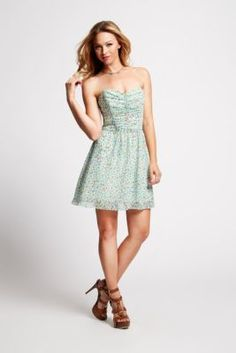 Strapless Tie-Back Ditsy Floral-Print Dress | GUESS.ca