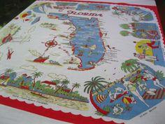 Vintage Florida tablecloth   1950s flamingos palm by 3floridagirls, $90.00