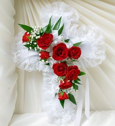 Order Red & White Satin Heart Casket Pillow flower arrangement from Cape Coral Floral Designs, your local Cape Coral, FL florist. Send Red & White Satin Heart Casket Pillow floral arrangement throughout Cape Coral, FL and surrounding areas. Casket Flowers, Grave Flowers, Cemetery Flowers, Funeral Flowers, Send Flowers, 800 Flowers, Funeral Floral Arrangements, Christmas Arrangements, Flower Arrangements