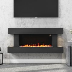 Buy AmberGlo Grey Wall Mounted Electric Fireplace Suite with Log & Pebble Fuel Bed from Appliances Direct - the UK's leading online appliance specialist Fireplace Feature Wall, Wall Mounted Fireplace, Home Fireplace, Brick Fireplace, Fireplace Design, Fireplace Ideas, Fireplaces, Electric Fireplace Surround, Electric Fireplace Suites