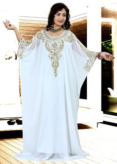 **EID SPECIAL** White Dubai Style Arabian Farasha Kaftan Jalabiya Maxi Dress Top #NA #MaxiBallGown