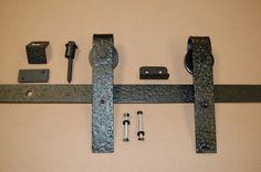 Barn door Hardware...Hammered flat track Black Powder Coat - Complete Kit