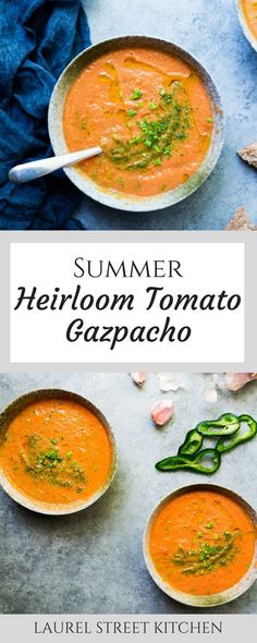 Summer Heirloom Tomato Gazpacho Recipe with Roasted Padron Pepper Powder. A Bright, fresh soup that's full of goodness, perfect for a summer lunch or light dinner served alongside a loaf of crusty bread. laurelstreetkitchen.com
