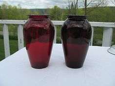 Pair of Large Ruby Red Depression Glass Floral Vases Nice & Pretty Red Glass, Vintage Glassware, Ruby Red, Vases, Pottery, Amp, Nice, Floral