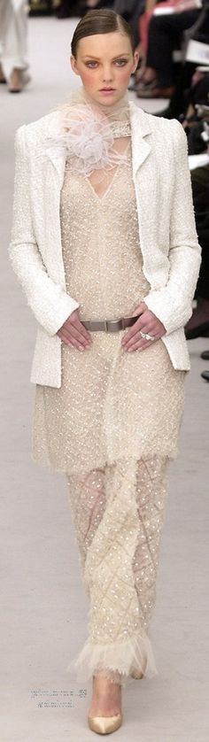 Chanel ~ Couture Nude 2 piece Maxi Skirt Suit w Jacket, Spring 2004