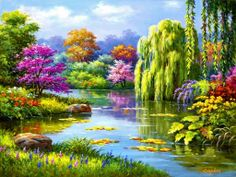 EverShine Diamond Embroidery Landscape Crystal Diamond Painting Full Square Cross Stitch Sale Diamond Mosaic Kit Home Decoration Cross Paintings, Art Paintings, Paintings Of Nature, Belle Image Nature, Spring Landscape, Forest Landscape, 5d Diamond Painting, Paint Set, Paint By Number