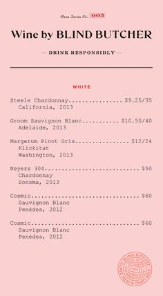 Blind Butcher Menu by Tractorbeam // menu design, pink and red
