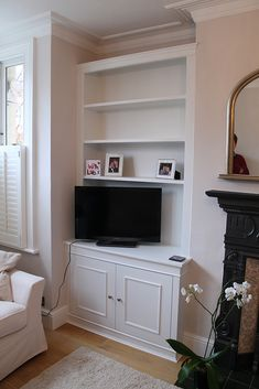 Ideas for built in cupboards and shelves in living room. Alcove Storage, Alcove Shelving, Alcove Tv Unit, Storage Shelves, Alcove Cabinets, Mdf Cabinets, My Living Room, Home And Living, Living Room Cupboards