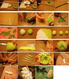 Polymer clay chrysanthemum tutorial