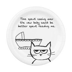 Angry Cat and the New Baby - Funny Baby Shower Paper Plate  sc 1 st  Pinterest & Angry Cat Demands Cake - Funny Special Occasions Paper Plate ...