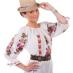Flori de IE (Flowers of Romanian blouse), full of joy and colour from day to night! Fairy Clothes, Summer Collection, Cross Stitch Embroidery, Bell Sleeve Top, Traditional, Clothes For Women, Elegant, Lady, Womens Fashion