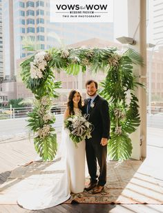 A delightful combination of desert meets urban, we can't get enough of this Southern California inspired wedding designed by the team at Pearl Events Austin! With both wedding and reception held at Brazos Hall, Kelsey and Josh were able to create the perfect tropical oasis with the use of palm leaves and bright tropical florals from Bouquets of Austin. Modern and geometric furniture and decor pieces from Loot Vintage Rentals and Marquee Event Group! Photos by Two Pair Photography.