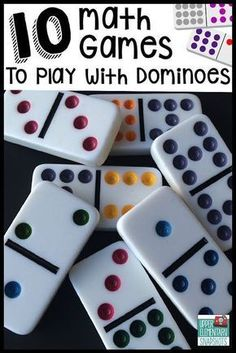 Children's Educational Games: Ten math games that students can play with dominoes to strengthen multiplication, decimal, and fraction skills. A FREE printable is included! Math Night, Math Intervention, Second Grade Math, 2nd Grade Math Games, 4th Grade Activities, Sorting Activities, Group Activities, Sixth Grade, Therapy Activities