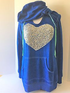 Miss Chievous Womens Blue Silver Heart Hoodie Long Sleeve Sweater Large