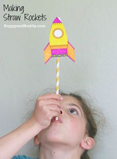 Science for Kids: Making Straw Rockets by BuggyandBuddy: Free template. #Kids #DIY #Straw_Rockets