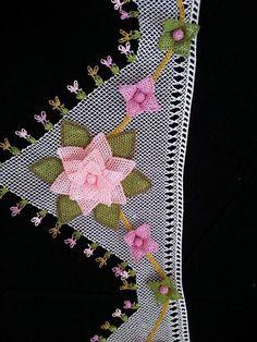 iğne oyası büyük pembe yıldız çiçek