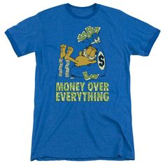 """Checkout our #LicensedGear products FREE SHIPPING + 10% OFF Coupon Code """"Official"""" Garfield / Money Is Everything - Adult Heather Ringer - Garfield / Money Is Everything - Adult Heather Ringer - Price: $34.99. Buy now at https://officiallylicensedgear.com/garfield-money-is-everything-adult-heather-ringer"""