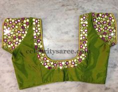 Green square mirror work blouse