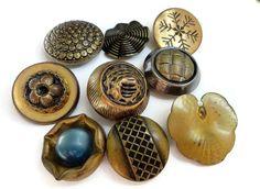 Bottoni di metallo di 9 oro Vintage - grande antica agli inizi del 1900 al 1950 per gioielli perline cucito maglieria 1 pollice a 1,25 pollici