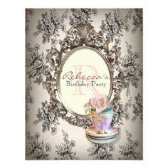 elegant english floral vintage birthday party personalized invites