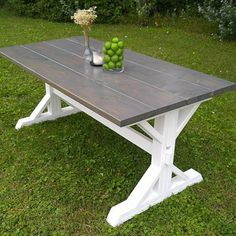 This beautiful Farm House Table is constructed in our home personally by my wife and I! This table is available in 5 6 7 or 8 long! With a classic gray finish on top and a bright white platinum paint on the base, it is guaranteed to give you exactly what you need, without breaking the bank. Each table comes with two coats of poly for shine, protection and easy clean-up!  7 and 8 tables extend to accommodate two chairs on the ends for comfortable seating for six. Table is 36 wide x 30 High…