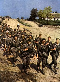 German infantry march in Russia, probably summer The German army at the time was not fully motorized and, as a result, maneuvering involved forced marches over hundreds of miles. By the end of fatigue was claiming as many casualties as frost and bullets.
