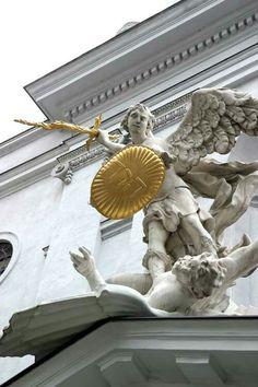 Michael's Square in Vienna Austria Sculpture /Fall of Angels ( Shield with Tetragrammaton) / Lorenzo Mattielli