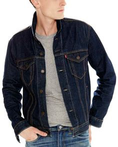 New Levi's Men's Denim Trucker Jacket Indigo - Pick Size XL or Mens Jackets Grunge Look, Style Grunge, 90s Grunge, Grunge Outfits, Soft Grunge, Jean Jacket Outfits, Jacket Style, Style Pastel, Indigo