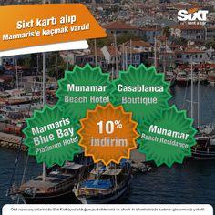 Sixt Gold ve Platinum Kart Üyeleri şimdi Marmaris'in önde gelen otellerinde de avantajlı!  Marmaris Blue Bay Platinum Hotel, Munamar Beach Hotel,Munamar Beach Residance ve Casablanca Boutique Hotel'de Sixt Gold ve Platinum Kart üyeleri %10 indirim kazanıyor :)