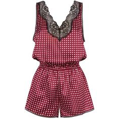 Stella McCartney Poppy Polka Dot Silk Playsuit ($310) ❤ liked on Polyvore featuring jumpsuits, rompers, v neck romper, red polka dot romper, red rompers, silk rompers and polka dot romper
