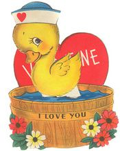 Vintage 1930's Swimming Duck in Tub Mechanical Valentine