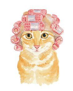 Cat Watercolour PRINT - Orange Tabby Cat Painting, Hair Curlers, Cat Illustration, 8x10 Print