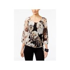 6d6809d9 Inc International Concepts Petite Printed Peasant Top, Only at Macy's -  Tan/Beige P/S. BargainBigly