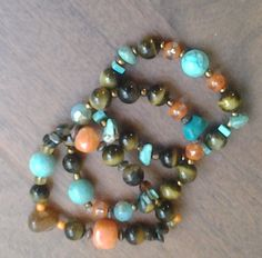 Set of Three,  Orange, Turquoise and Brown Stretch Bracelets..Chunky Bracelet Stack...Tiger's Eye, Howlite Gemstone, Glass Beads  - SB0105 by NinsWildCreations on Etsy