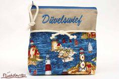 Maritime Kosmetiktasche mit Stickerei ♥Düvelswief♥ von FLINTHOLM   auf DaWanda.com