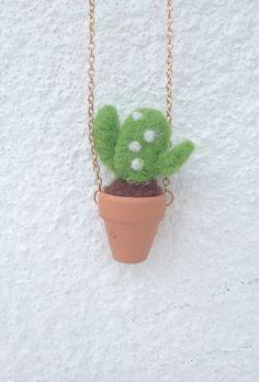 Free Shipping!! Mini Felted Wool Succulent Plant Necklace/ Cactus Plant/ Felt Necklace/ Needle Felted/ Handmade/ Miniature by CherCherDIY on Etsy