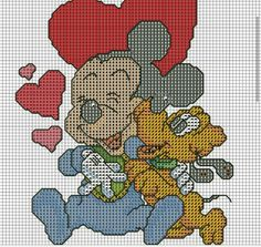 116 best images about Schemi punto Baby Mickey Mouse, Mickey Mouse And Friends, Cross Stitch Charts, Cross Stitch Patterns, Cross Stitching, Cross Stitch Embroidery, Graph Crochet, Disney Cartoon Characters, Baby Disney