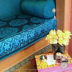 Colorful DIY Decor Painted with Rani Paisley Indian Furniture and Fabric Stencils - Royal Design Studio