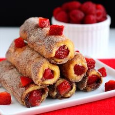 Looking for something exotic for breakfast? Try French Toast Roll-Ups filled w/strawberries, cream cheese/nutella or your own filling!