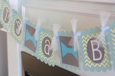"""Mustache Bash Bowtie Baby Shower or Birthday Chevron """"Little Man"""" or """"Its a Boy"""" Banner Light Blue and Green - Or Pick Your Color"""