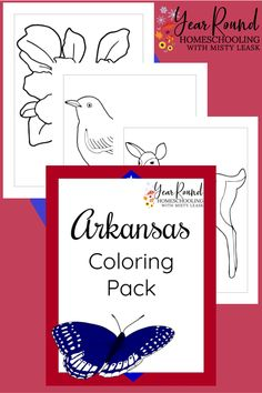 While you're studying the state of Arkansas, add these fun Arkansas Coloring Pages to your lessons to cover art and geography in one! #Arkansas #USA #Coloring #Color #Geography #Homeschool #USGeography #Homeschooling #YearRoundHomeschooling #Printable