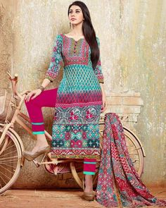 "D-Onlineshop on Twitter: ""#Indian Cambric Cotton Printed Unstitched Shalwar #Suit - Turquoise By Wear & Wow ONE SIZE ৳ 2,080.00 Shop at Now:"