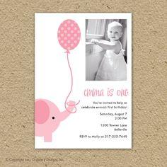 @Patrice Holodnick Ashford- elephant birthday party invitation with photo - party elephant. $15.00, via Etsy.
