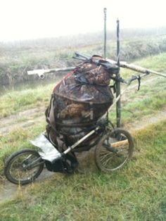 Modified jogging stroller for longer jaunt to the marsh