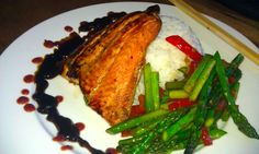 Hoisin Glazed Salmon with Stir Fry Asparagus & Red Pepper and Jasmine Rice