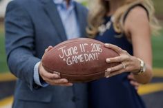 Such a cute football Save the Date idea for sports lovers!